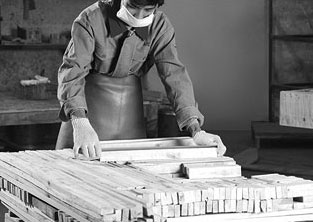 Controlling for the correct measurement and quality of wooden parts is important to guarantee the long-lasting structure of each KELVIN GIORMANI sofa frame.